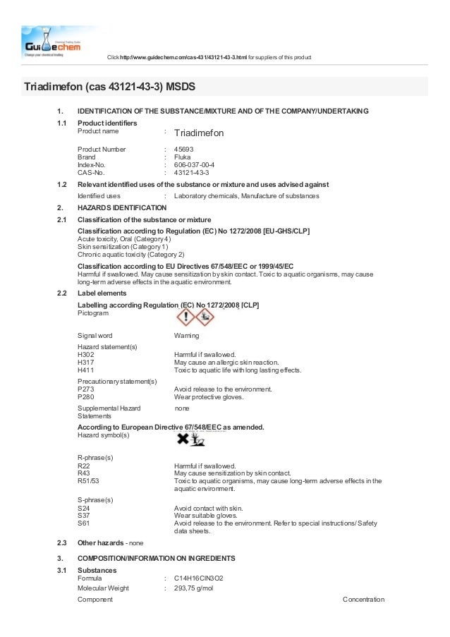 Click http://www.guidechem.com/cas-431/43121-43-3.html for suppliers of this productTriadimefon (cas 43121-43-3) MSDS     ...