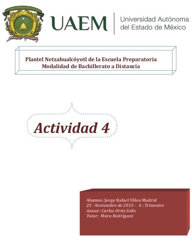 Actividad 4 Geometría Analítica Plantel Netzahualcóyotl de la Escuela Preparatoria Modalidad de Bachillerato a Distancia A...