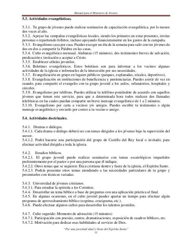 Manual para el Ministerio de Jóvenes5.4.7.3. Culto de alabanza juvenil.5.4.7.4. Oración y lectura bíblica.5.4.7.5. Partici...