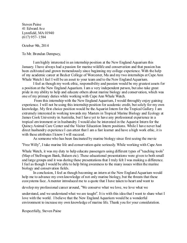 Amazing Aquarium Cover Letter. Steven Paine 41 Edward Ave Lynnfield, MA 01940 (617)  957  1584 October