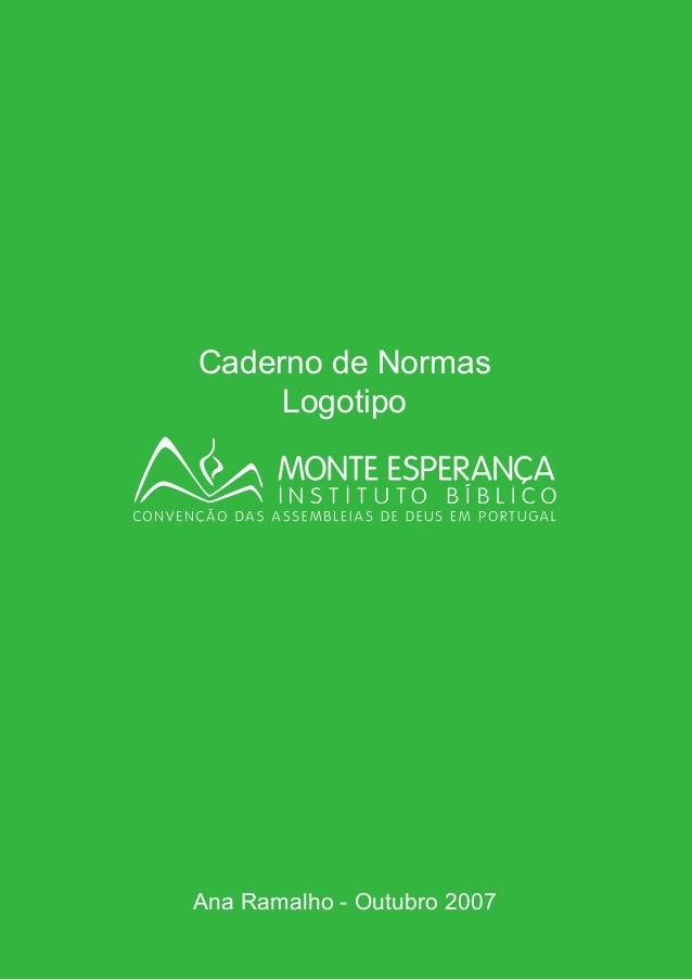 Caderno de Normas Logotipo Ana Ramalho - Outubro 2007