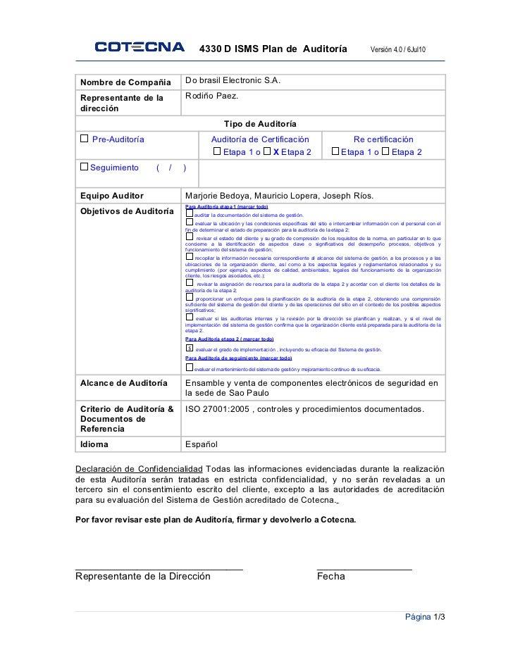 4330 d plan de auditoria isms