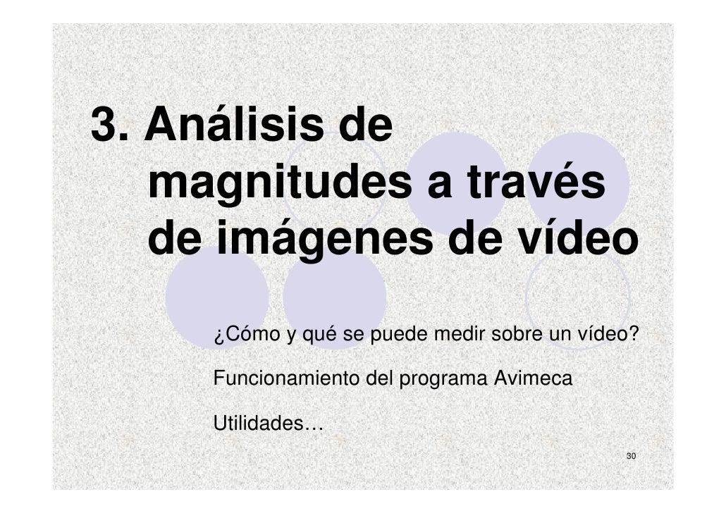 3. Análisis de    magnitudes a través    de imágenes de vídeo      ¿Cómo y qué se puede medir sobre un vídeo?       Funcio...