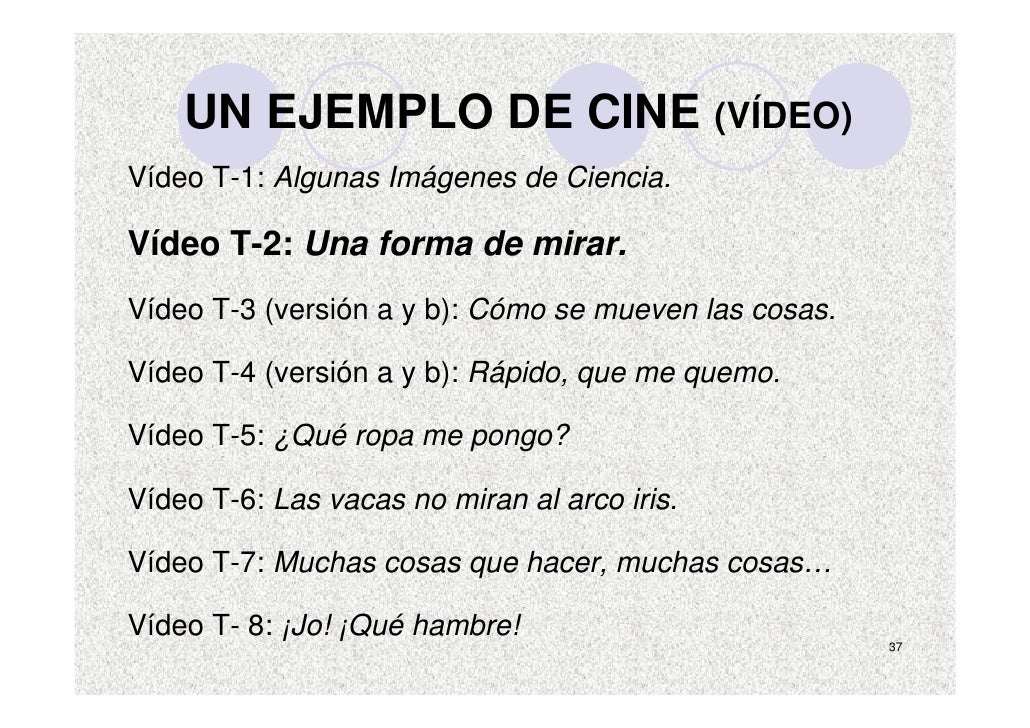 UN EJEMPLO DE CINE (VÍDEO) Vídeo T-1: Algunas Imágenes de Ciencia.  Vídeo T-2: Una forma de mirar. Vídeo T-3 (versión a y ...