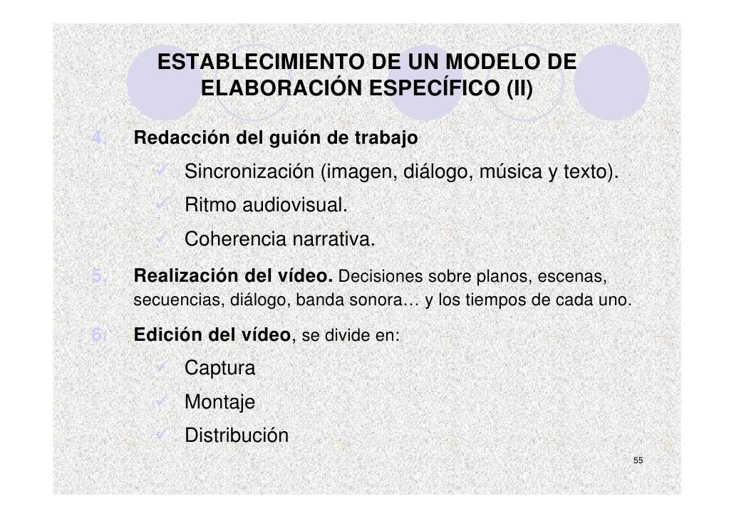 ESTABLECIMIENTO DE UN MODELO DE           ELABORACIÓN ESPECÍFICO (II)  4.   Redacción del guión de trabajo            Sinc...