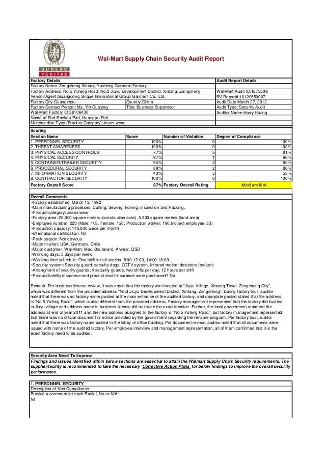 Walmart audit report