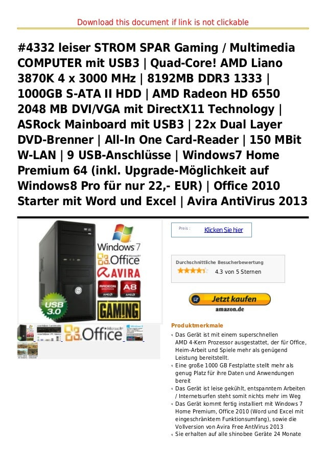 Download this document if link is not clickable#4332 leiser STROM SPAR Gaming / MultimediaCOMPUTER mit USB3 | Quad-Core! A...