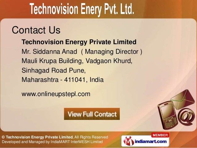 Contact Us          Technovision Energy Private Limited          Mr. Siddanna Anad ( Managing Director )          Mauli Kr...