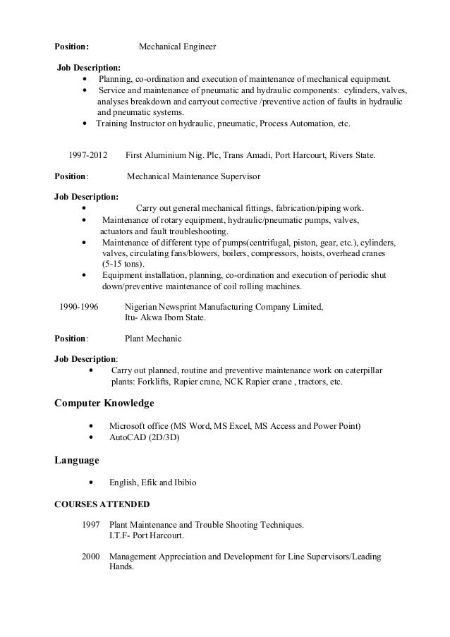 Mechanical Engineering Job Description Architectural Design