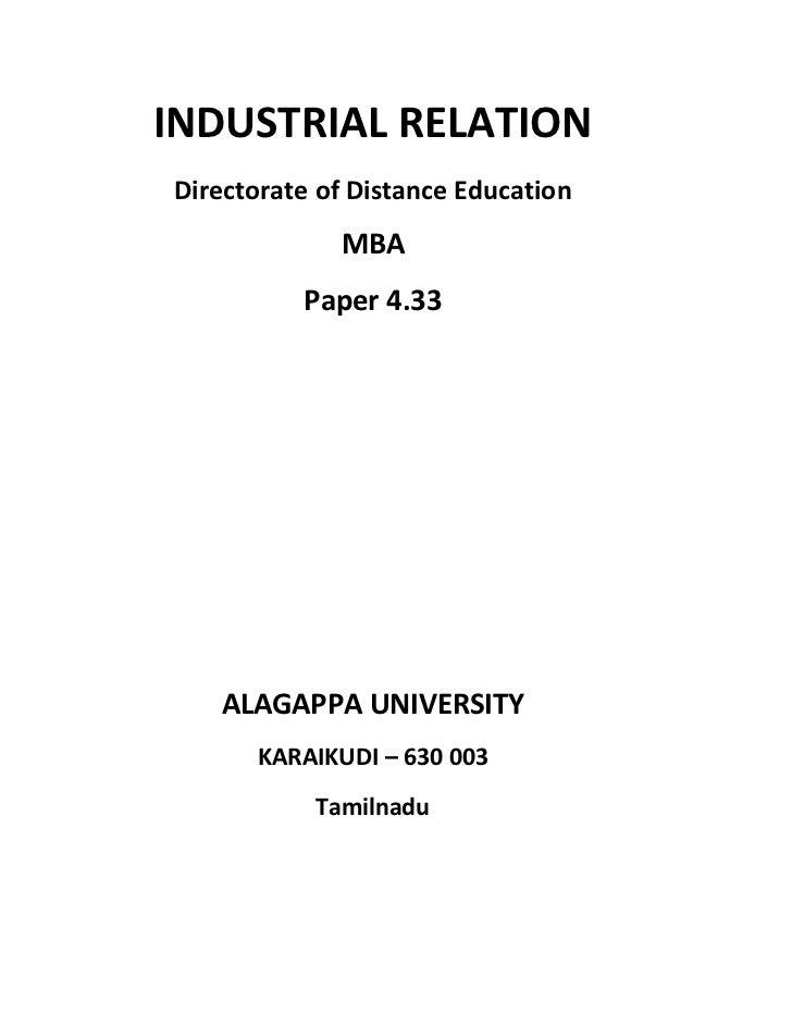 INDUSTRIAL RELATIONDirectorate of Distance Education             MBA          Paper 4.33   ALAGAPPA UNIVERSITY      KARAIK...