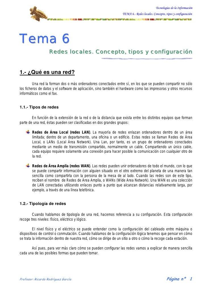 Tecnologías de la Información                                                                   TEMA 6.- Redes locales. Co...
