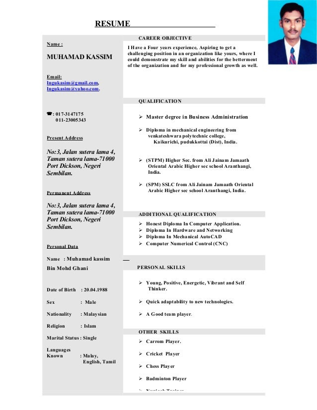 New Format Resume Resume Name Muhamad Kassim Email Ingukasimgmailcom  Ingukasimyahoo