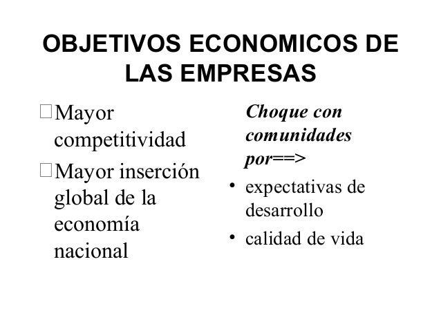 OBJETIVOS ECONOMICOS DE LAS EMPRESAS Mayor competitividad Mayor inserción global de la economía nacional Choque con comu...