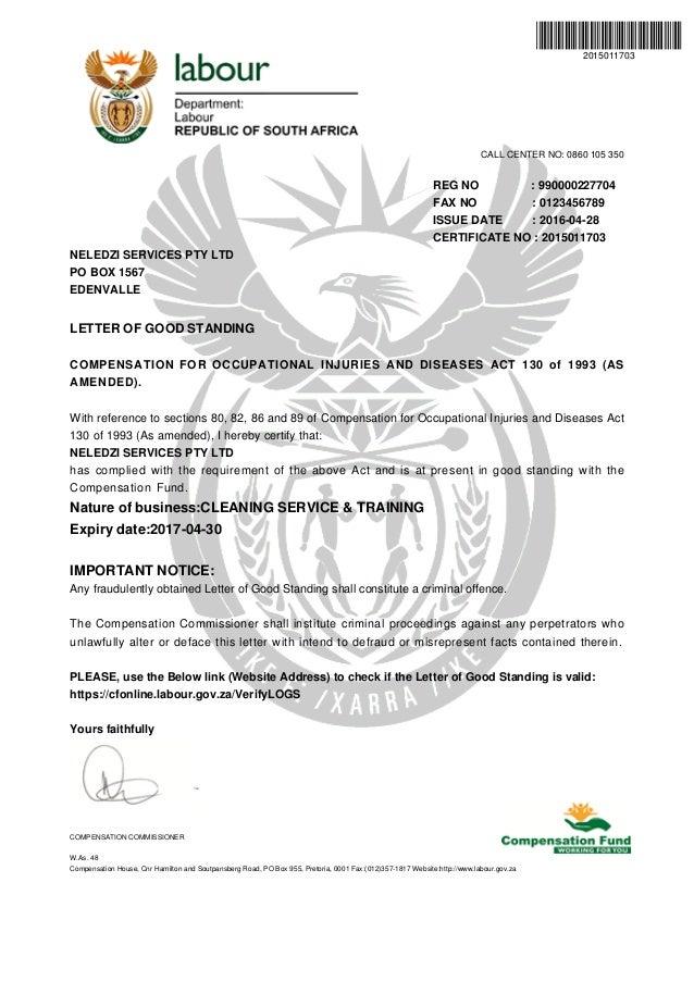 2017 letter of good standing Neledzi Services