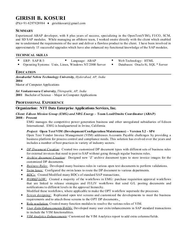 Exceptional Abap Developer Resume Pertaining To Angularjs Resume