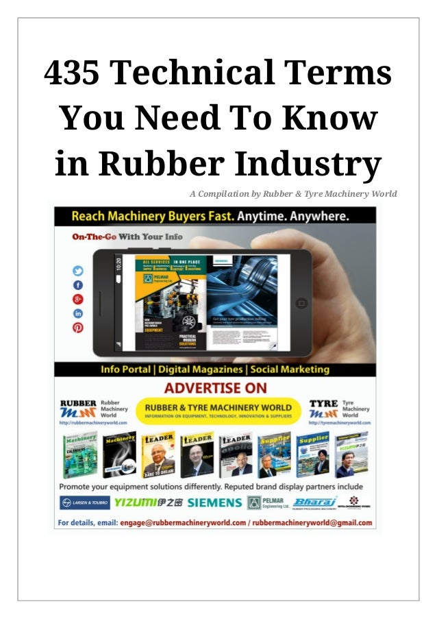 435 Technical Terms You Need To Know in Rubber Industry A Compilation by Rubber & Tyre Machinery World