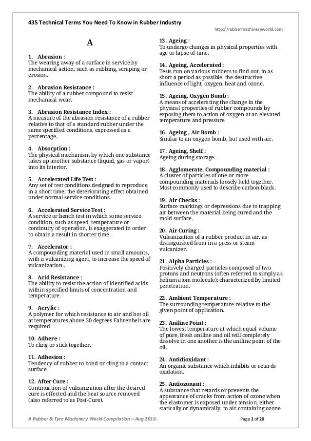 435 Technical Terms You Need To Know in Rubber Industry http://rubbermachineryworld.com A Rubber & Tyre Machinery World Co...