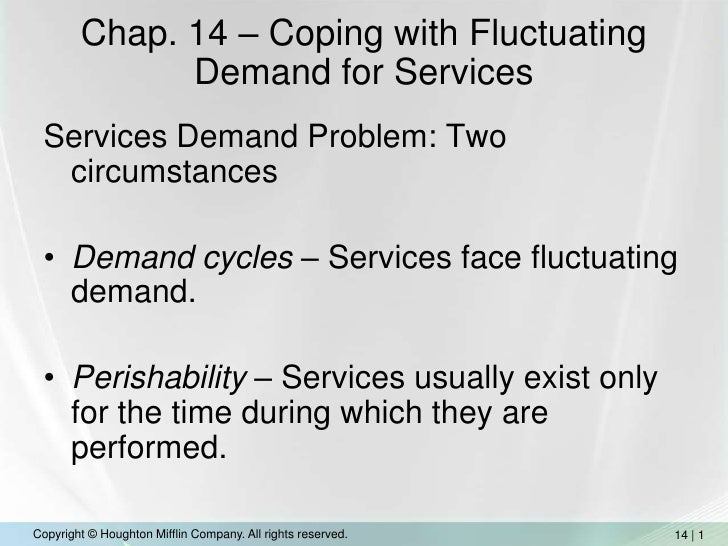 Chap. 14 – Coping with Fluctuating Demand for Services<br />Services Demand Problem: Two circumstances<br />Demand cycles ...