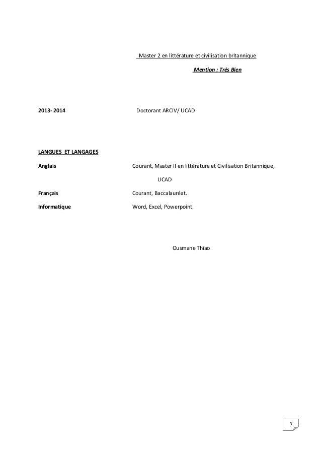 3 Master 2 en littérature et civilisation britannique Mention : Très Bien 2013- 2014 Doctorant ARCIV/ UCAD LANGUES ET LANG...