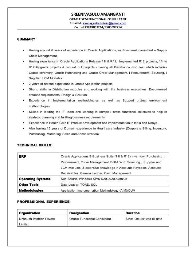 Scm Functional Consultant Resume