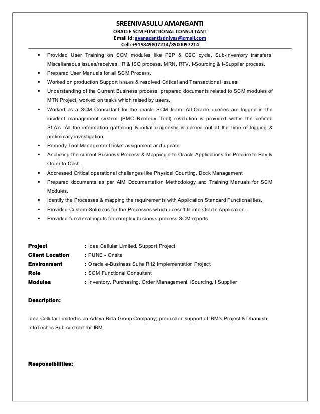 resume sle for i t oracle scm functional consultant