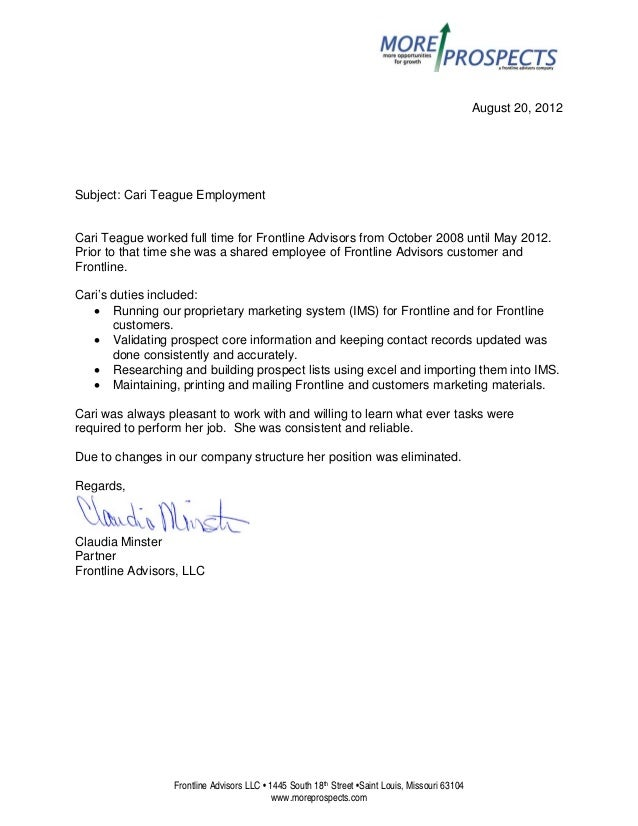 Cari Teague Reference Letter