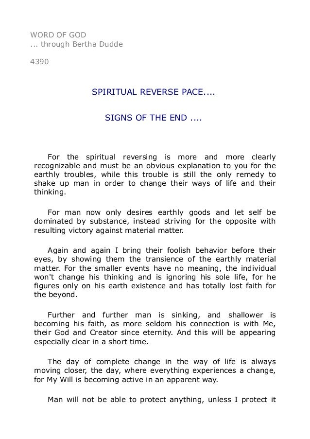 4390 Spiritual Reverse Pace Signs Of The End