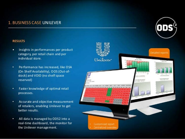 1. BUSINESS CASE UNILEVER RESULTS • Insights in performances per product category, per retail chain and per individual sto...