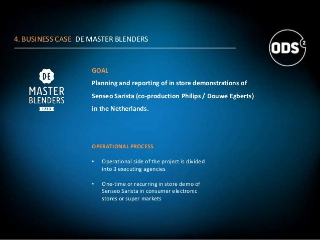 4. BUSINESS CASE DE MASTER BLENDERS GOAL Planning and reporting of in store demonstrations of Senseo Sarista (co-productio...