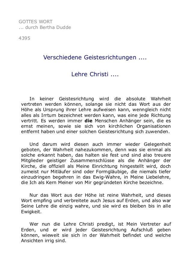 GOTTES WORT ... durch Bertha Dudde 4395 Verschiedene Geistesrichtungen .... Lehre Christi .... In keiner Geistesrichtung w...