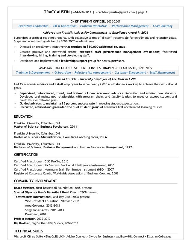 tracy austin resume june 2016