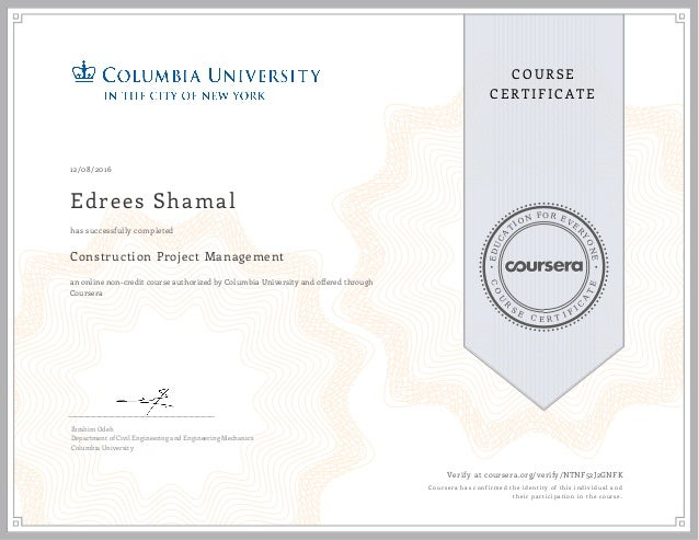 construciton project management certificate