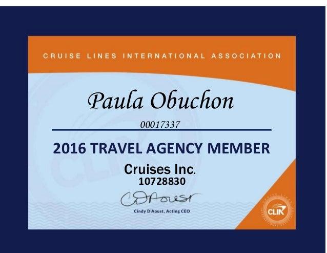 2016 Clia Certificate Cruise Inc