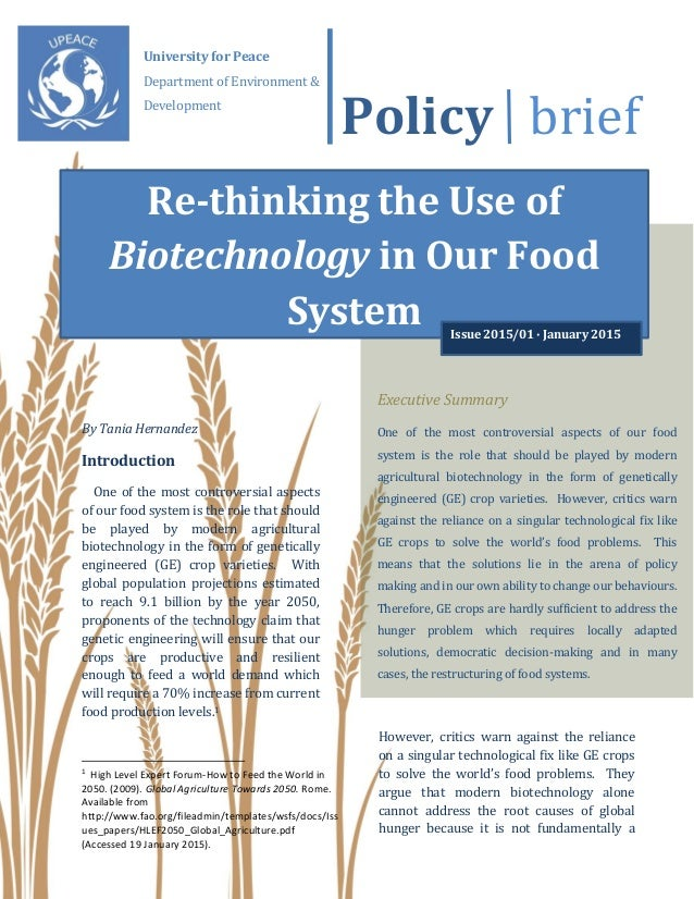 Policy Brief By Tania Hernandez Introduction One Of The Most Controversial Aspects Our Food System