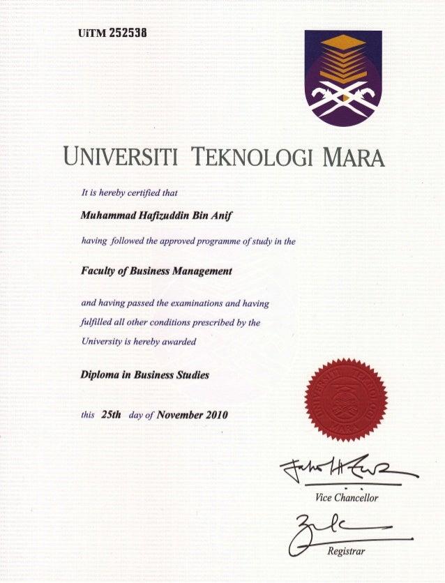 UiTM 25U 538 UNIVERSITI TEKNOLOGI MARA It is hereby certified that Muhammad Hatiutddin Bin Antf having followed the approv...