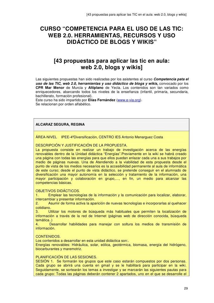 """[43 propuestas para aplicar las TIC en el aula: web 2.0, blogs y wikis]      CURSO """"COMPETENCIA PARA EL USO DE LAS TIC:   ..."""