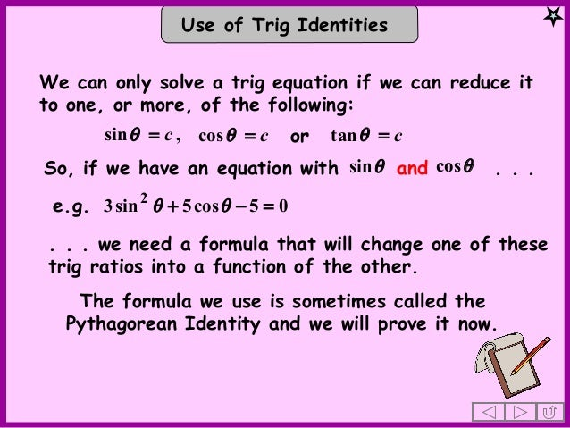 Quadratic trig equations