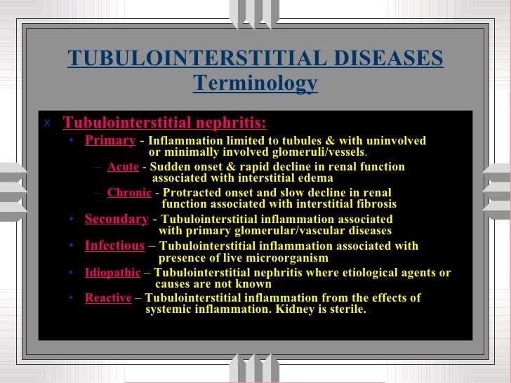 TUBULOINTERSTITIAL DISEASES Terminology <ul><li>Tubulointerstitial nephritis: </li></ul><ul><ul><li>Primary  -  Inflammati...