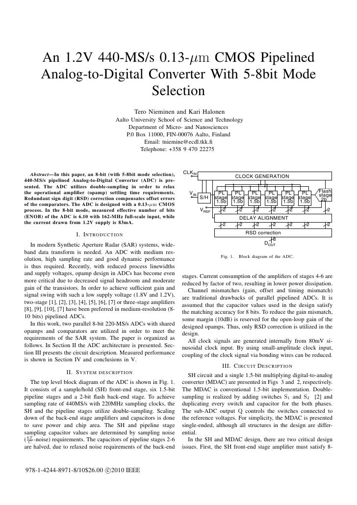 An 1.2V 440-MS/s 0.13-µm CMOS Pipelined       Analog-to-Digital Converter With 5-8bit Mode                         Selecti...