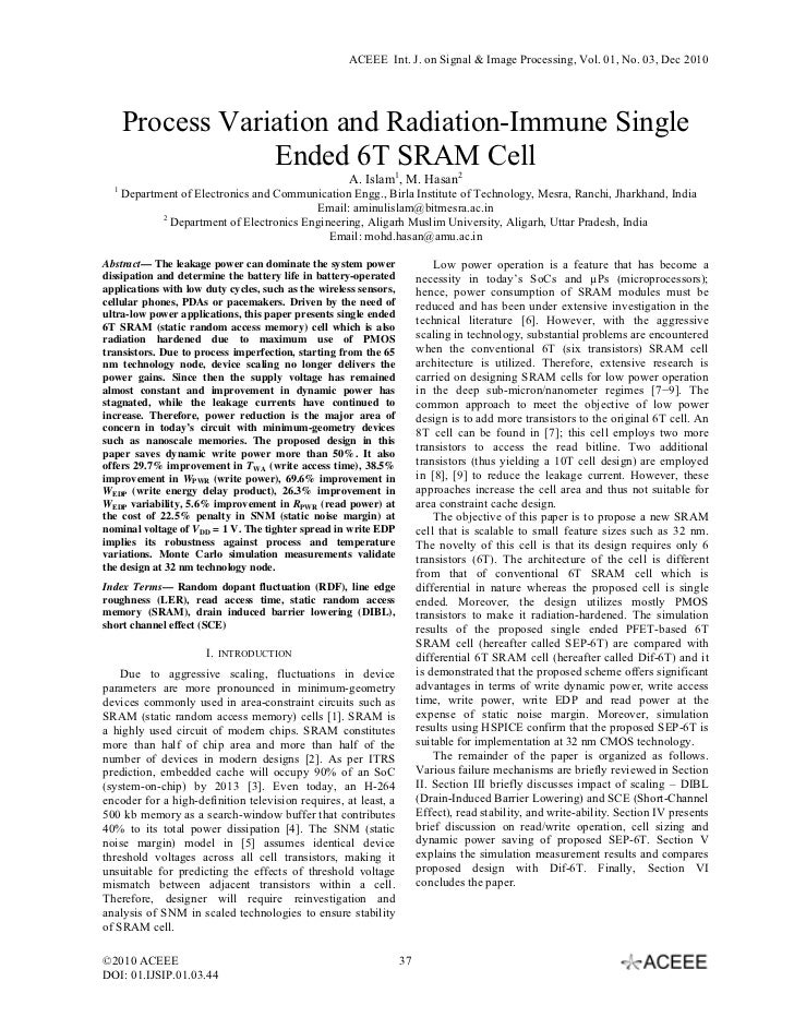 ACEEE Int. J. on Signal & Image Processing, Vol. 01, No. 03, Dec 2010      Process Variation and Radiation-Immune Single  ...
