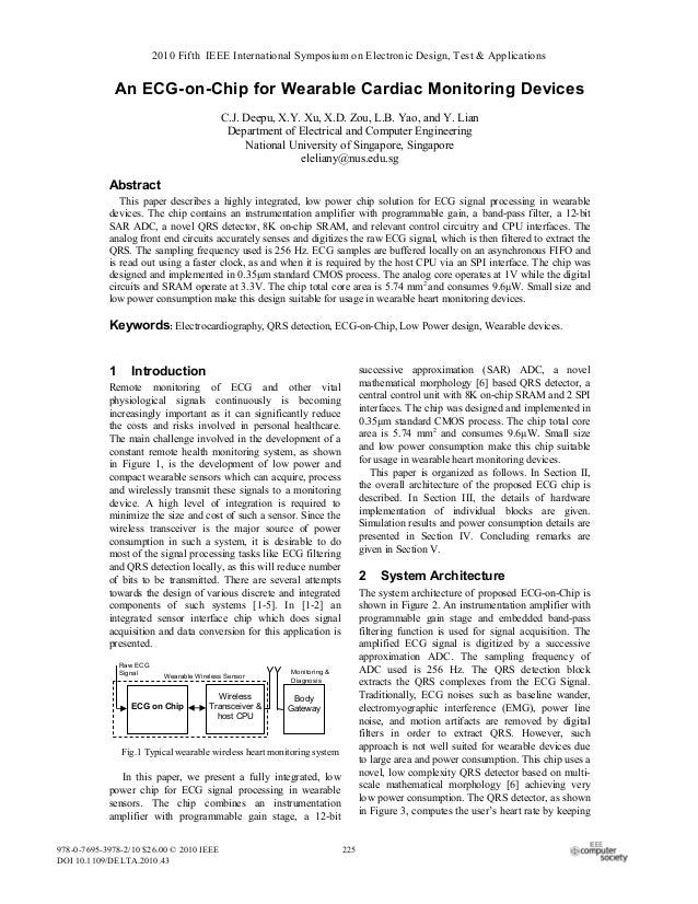 2010 Fifth IEEE International Symposium on Electronic Design, Test & Applications  An ECG-on-Chip for Wearable Cardiac Mon...