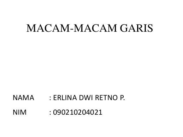 MACAM-MACAM GARISNAMA : ERLINA DWI RETNO P.NIM : 090210204021
