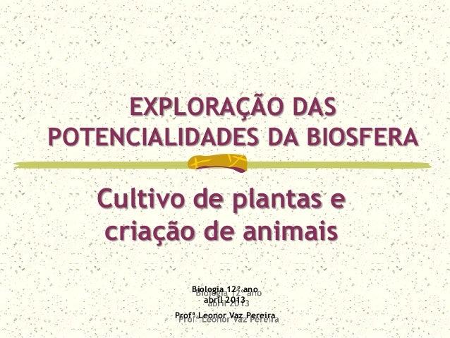 EXPLORAÇÃO DASPOTENCIALIDADES DA BIOSFERABiologia 12º anoabril 2013Profª Leonor Vaz PereiraCultivo de plantas ecriação de ...