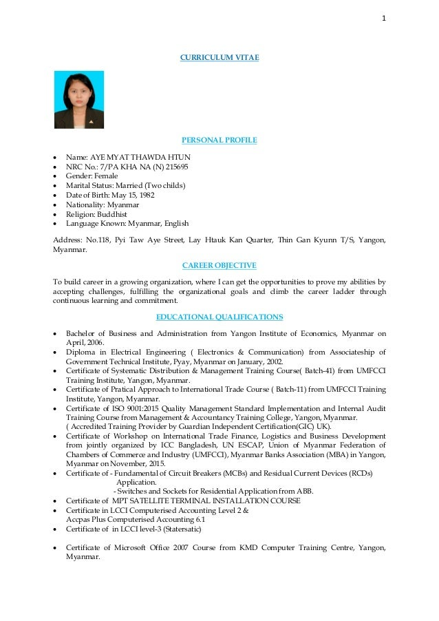 Cv and cover letter of amtdh 1 curriculum vitae personal profile name aye myat thawda htun nrc no thecheapjerseys Image collections