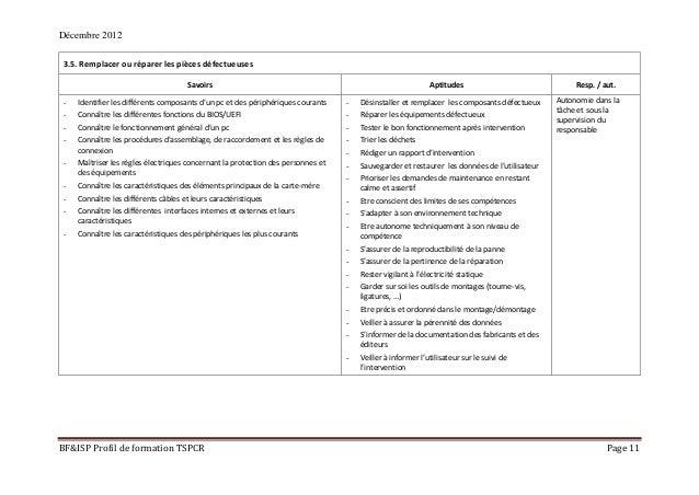 Décembre 2012 BF&ISP Profil de formation TSPCR Page 11 3.5. Remplacer ou réparer les pièces défectueuses Savoirs Aptitudes...
