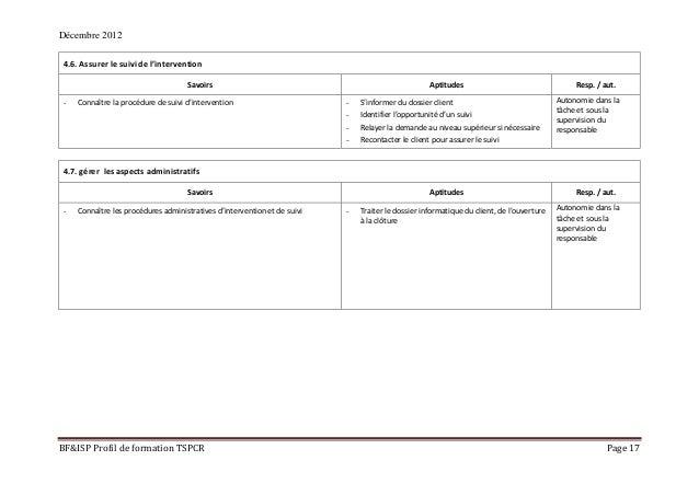 Décembre 2012 BF&ISP Profil de formation TSPCR Page 17 4.6. Assurer le suivi de l'intervention Savoirs Aptitudes Resp. / a...
