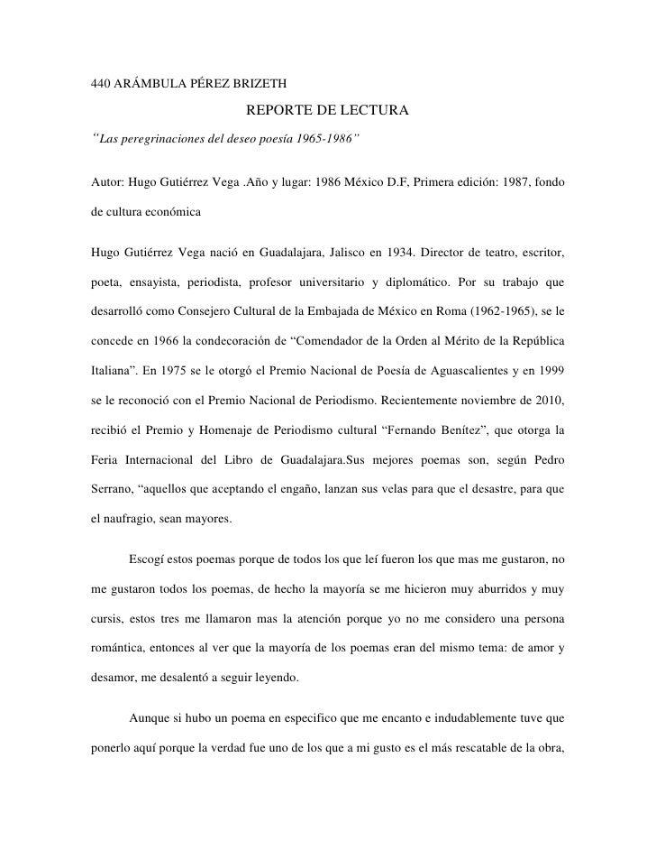 """440 ARÁMBULA PÉREZ BRIZETH                              REPORTE DE LECTURA""""Las peregrinaciones del deseo poesía 1965-1986""""..."""