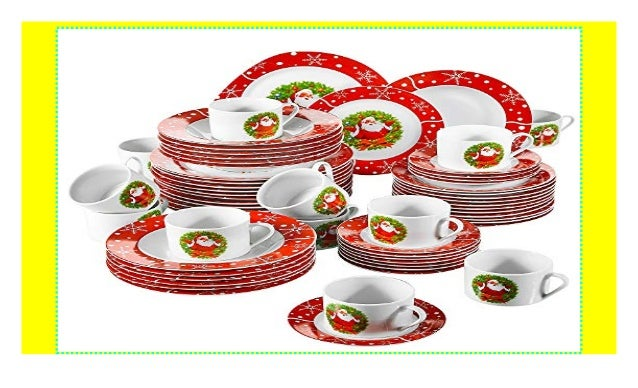 Porzellan Weihnachten.Veweet Serie Santaclaus Porzellan Geschirrset 60 Tlg