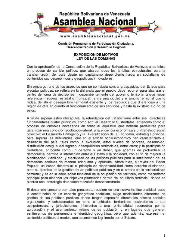 Comisión Permanente de Participación Ciudadana, Descentralización y Desarrollo Regional 1 EXPOSICION DE MOTIVOS LEY DE LAS...