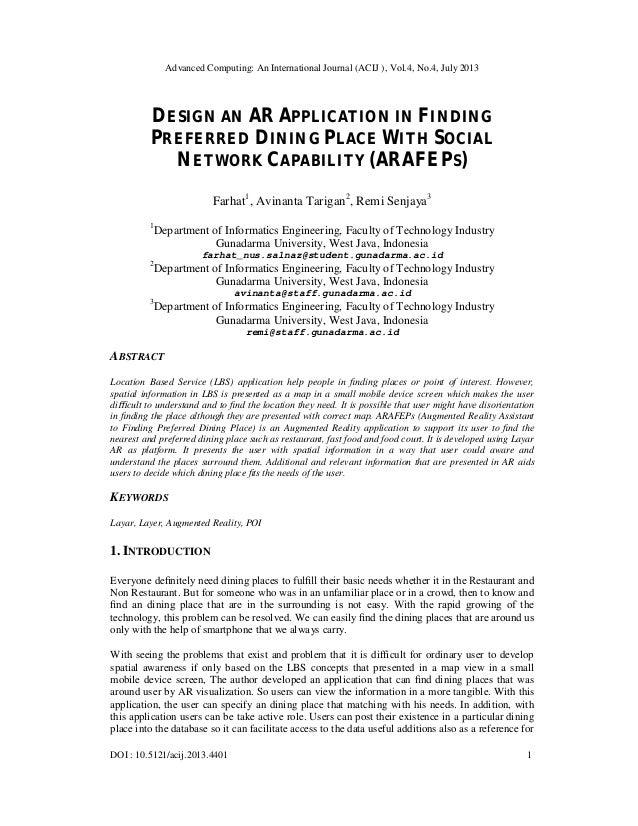 Advanced Computing: An International Journal (ACIJ ), Vol.4, No.4, July 2013 DOI : 10.5121/acij.2013.4401 1 DESIGN AN AR A...
